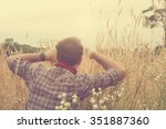 young man in nature. | Shutterstock . vector #351887360