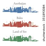 baku azerbaijan on national... | Shutterstock .eps vector #351893084
