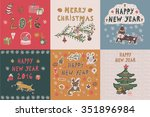 happy new year card set | Shutterstock .eps vector #351896984