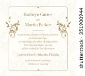 wedding invitation. design... | Shutterstock .eps vector #351900944