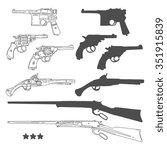 hand drawn retro gun set.... | Shutterstock .eps vector #351915839