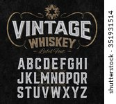 vintage whiskey label font with ... | Shutterstock .eps vector #351931514