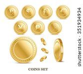 set of the currency golden... | Shutterstock . vector #351934934