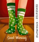 good morning.christmas green... | Shutterstock .eps vector #351935450