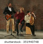 man's musical band on brick... | Shutterstock . vector #351940748
