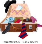 open the suitcase in which... | Shutterstock .eps vector #351942224