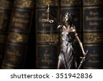 Stock photo themis figure in library 351942836