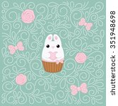 vector card with white bunny...