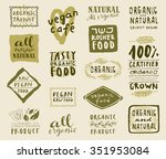 retro style set of natural ... | Shutterstock .eps vector #351953084