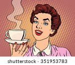 girl with cup of coffee pop art ... | Shutterstock .eps vector #351953783