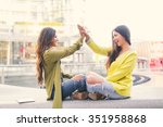 two beautiful young women... | Shutterstock . vector #351958868