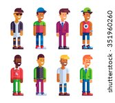 set of male characters in flat... | Shutterstock .eps vector #351960260