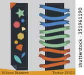 ribbon banners stitching... | Shutterstock .eps vector #351961190