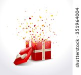 opened red gift box with ribbon ... | Shutterstock . vector #351964004