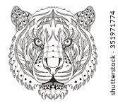 tiger head zentangle stylized ... | Shutterstock .eps vector #351971774