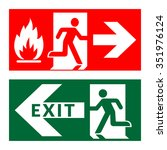 exit sign. emergency fire exit... | Shutterstock .eps vector #351976124