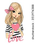 beautiful girl with a heart. | Shutterstock .eps vector #351976388