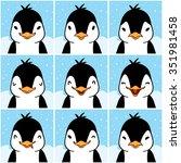 cute penguin cartoon emotion... | Shutterstock .eps vector #351981458