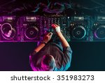 charismatic disc jockey at the... | Shutterstock . vector #351983273