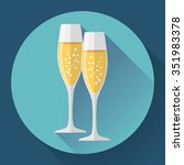two glasses of champagne. icon...   Shutterstock .eps vector #351983378