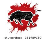 bull ready to fight  designed... | Shutterstock .eps vector #351989150