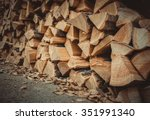 A Lot Of Firewood Outdoor ...