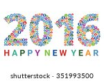 happy new year 2016 text design ... | Shutterstock .eps vector #351993500
