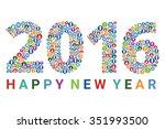 happy new year 2016 text design ... | Shutterstock .eps vector #351993500