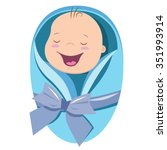 Cute New Born Baby Boy Vector...