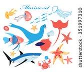 marine set of beautiful fish... | Shutterstock .eps vector #351997310