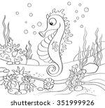 seahorse. underwater world.... | Shutterstock .eps vector #351999926