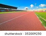 Red Running Track In Stadium O...