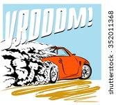 Sport Car Speeding Across The...