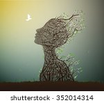 alive tree and pigeon spring... | Shutterstock .eps vector #352014314