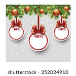 christmas sale card with ribbon ... | Shutterstock .eps vector #352024910