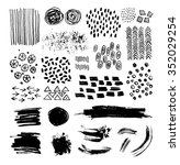 vector set of hand drawn ink... | Shutterstock .eps vector #352029254