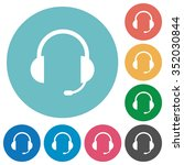 flat headset icon set on round...