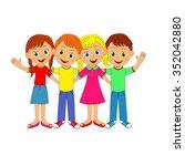 boys and girls hugging each... | Shutterstock .eps vector #352042880