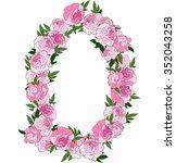 floral frame made of pink... | Shutterstock .eps vector #352043258