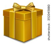 gift box with gold bow on... | Shutterstock .eps vector #352045880