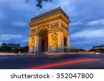 arc de triomphe at night in... | Shutterstock . vector #352047800