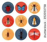 insects icons set flat. ladybug ... | Shutterstock .eps vector #352053758