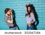 lifestyle portrait of beautiful ... | Shutterstock . vector #352067186