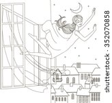 girl  flying  in  a  dream   Shutterstock .eps vector #352070858