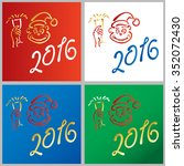 year of the monkey new year 2016 | Shutterstock .eps vector #352072430