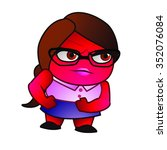 angry girl   red mad looking... | Shutterstock .eps vector #352076084
