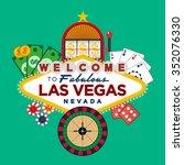 las vegas casino greeting sign... | Shutterstock .eps vector #352076330