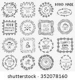 doodle vector frames  logotype... | Shutterstock .eps vector #352078160