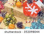 christmas tree branches on old... | Shutterstock . vector #352098044
