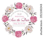 flower wedding invitation card  ... | Shutterstock .eps vector #352100243